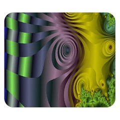 Fractal In Purple Gold And Green Double Sided Flano Blanket (Small)