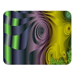 Fractal In Purple Gold And Green Double Sided Flano Blanket (Large)