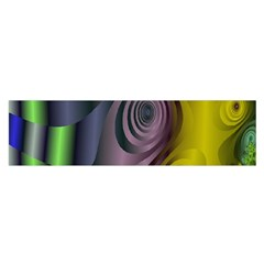 Fractal In Purple Gold And Green Satin Scarf (Oblong)