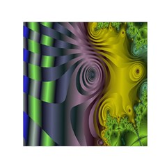 Fractal In Purple Gold And Green Small Satin Scarf (square)