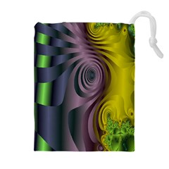 Fractal In Purple Gold And Green Drawstring Pouches (extra Large)