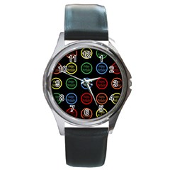 Happy Birthday Colorful Wallpaper Background Round Metal Watch