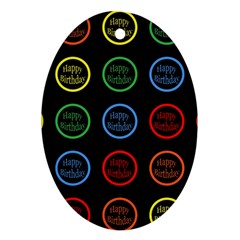 Happy Birthday Colorful Wallpaper Background Ornament (Oval)