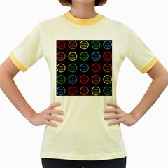 Happy Birthday Colorful Wallpaper Background Women s Fitted Ringer T Shirts