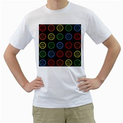 Happy Birthday Colorful Wallpaper Background Men s T Shirt (white) (two Sided)