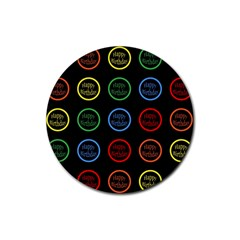 Happy Birthday Colorful Wallpaper Background Rubber Round Coaster (4 pack)