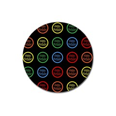 Happy Birthday Colorful Wallpaper Background Magnet 3  (Round)