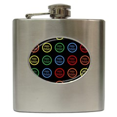 Happy Birthday Colorful Wallpaper Background Hip Flask (6 Oz)