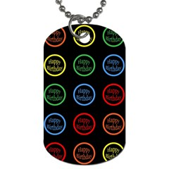 Happy Birthday Colorful Wallpaper Background Dog Tag (two Sides)