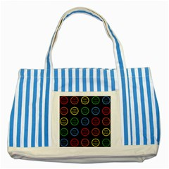 Happy Birthday Colorful Wallpaper Background Striped Blue Tote Bag