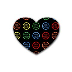 Happy Birthday Colorful Wallpaper Background Rubber Coaster (heart)