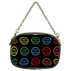 Happy Birthday Colorful Wallpaper Background Chain Purses (two Sides)