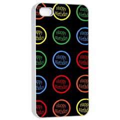 Happy Birthday Colorful Wallpaper Background Apple iPhone 4/4s Seamless Case (White)