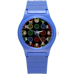 Happy Birthday Colorful Wallpaper Background Round Plastic Sport Watch (S)