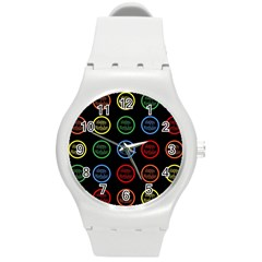 Happy Birthday Colorful Wallpaper Background Round Plastic Sport Watch (M)