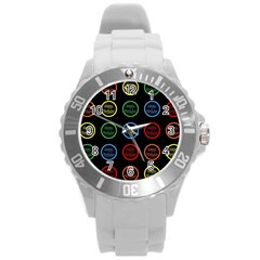 Happy Birthday Colorful Wallpaper Background Round Plastic Sport Watch (L)