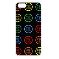 Happy Birthday Colorful Wallpaper Background Apple Iphone 5 Seamless Case (white)