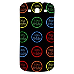 Happy Birthday Colorful Wallpaper Background Samsung Galaxy S3 S III Classic Hardshell Back Case