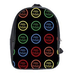 Happy Birthday Colorful Wallpaper Background School Bags (XL)