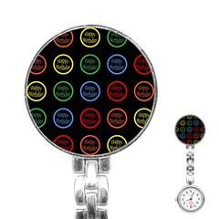 Happy Birthday Colorful Wallpaper Background Stainless Steel Nurses Watch