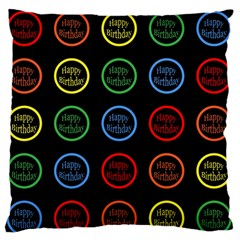 Happy Birthday Colorful Wallpaper Background Large Flano Cushion Case (two Sides)