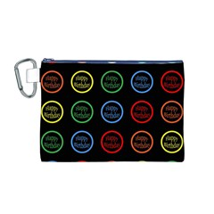 Happy Birthday Colorful Wallpaper Background Canvas Cosmetic Bag (M)