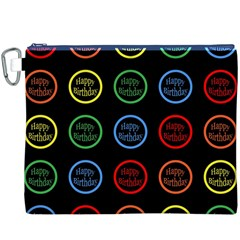 Happy Birthday Colorful Wallpaper Background Canvas Cosmetic Bag (XXXL)