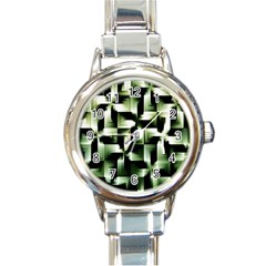 Green Black And White Abstract Background Of Squares Round Italian Charm Watch