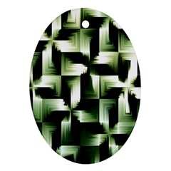 Green Black And White Abstract Background Of Squares Ornament (oval)