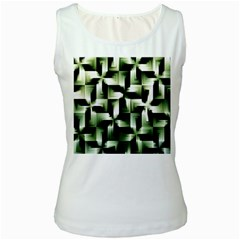 Green Black And White Abstract Background Of Squares Women s White Tank Top