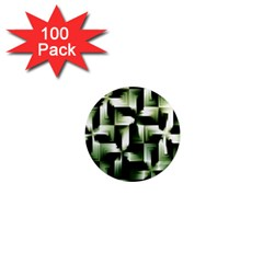 Green Black And White Abstract Background Of Squares 1  Mini Magnets (100 Pack)