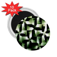 Green Black And White Abstract Background Of Squares 2 25  Magnets (10 Pack)