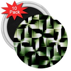 Green Black And White Abstract Background Of Squares 3  Magnets (10 pack)
