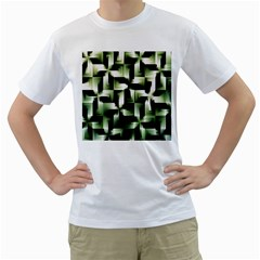 Green Black And White Abstract Background Of Squares Men s T Shirt (white) (two Sided)