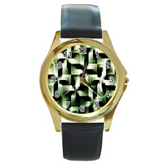 Green Black And White Abstract Background Of Squares Round Gold Metal Watch