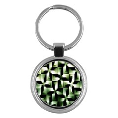 Green Black And White Abstract Background Of Squares Key Chains (Round)