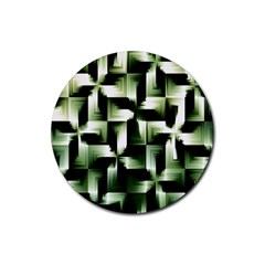Green Black And White Abstract Background Of Squares Rubber Coaster (Round)