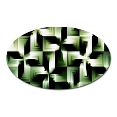 Green Black And White Abstract Background Of Squares Oval Magnet