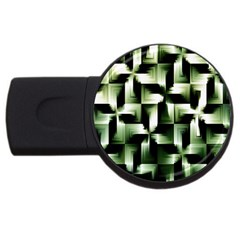 Green Black And White Abstract Background Of Squares Usb Flash Drive Round (2 Gb)