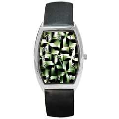Green Black And White Abstract Background Of Squares Barrel Style Metal Watch