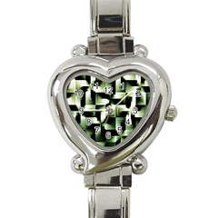 Green Black And White Abstract Background Of Squares Heart Italian Charm Watch