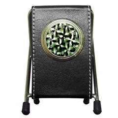 Green Black And White Abstract Background Of Squares Pen Holder Desk Clocks