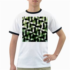 Green Black And White Abstract Background Of Squares Ringer T-Shirts