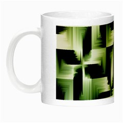Green Black And White Abstract Background Of Squares Night Luminous Mugs