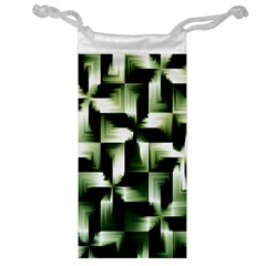 Green Black And White Abstract Background Of Squares Jewelry Bag