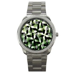 Green Black And White Abstract Background Of Squares Sport Metal Watch