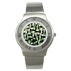 Green Black And White Abstract Background Of Squares Stainless Steel Watch