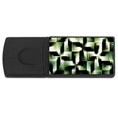 Green Black And White Abstract Background Of Squares Usb Flash Drive Rectangular (4 Gb)