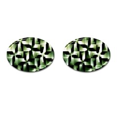 Green Black And White Abstract Background Of Squares Cufflinks (Oval)