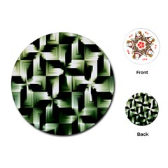 Green Black And White Abstract Background Of Squares Playing Cards (Round)